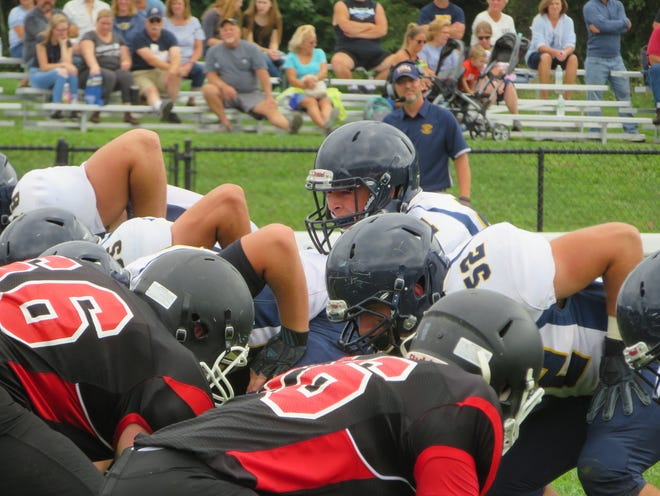 Tioga sets up for an offensive play against Newark Valley on Saturday.