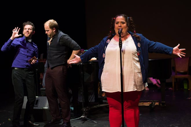 """Michelle Abad performs with James Sgambati O'Donnell (left) and Ryan O'Donnell in Bainbridge Performing Arts' 2013 production of """"The 25th Annual Putnam County Spelling Bee."""""""