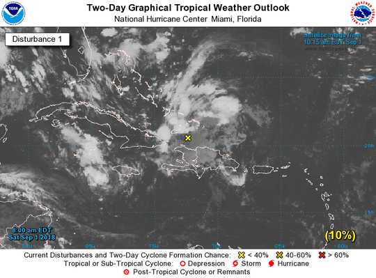 A graphic from the National Hurricane Center shows the location of a tropical wave at 11 a.m., Saturday, September 1.