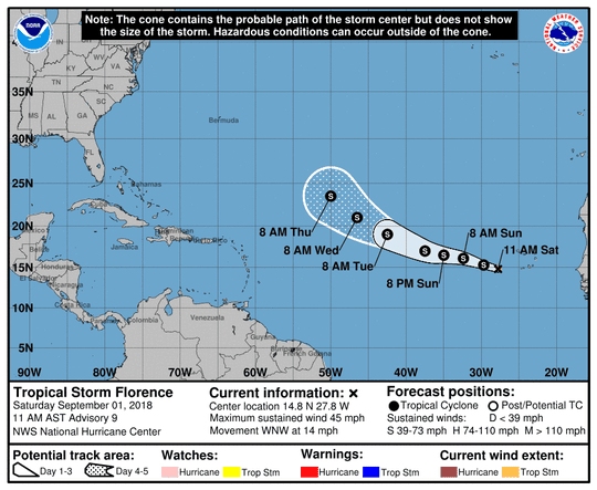 A graphic fromt he National Hurricane Center issued at 11 a.m., Saturday, September 1, shows the position and forecast track of Tropical Storm Florence.