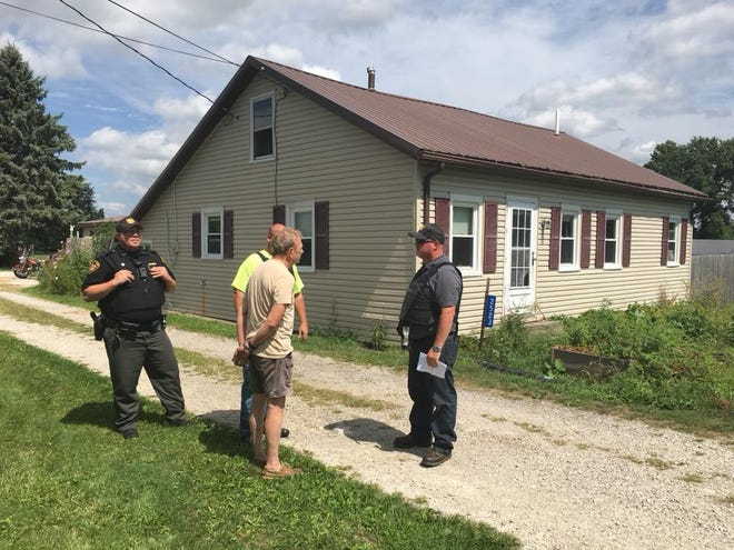 Law enforcement arrested a 66-year-old man on suspicion of cultivating marijuana after carrying out a search warrant at a Crestline house.