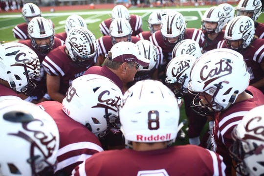 Calallen Wildcats get ready for their football season opener against the San Benito Greyhounds at Wildcat Stadium in Calallen.