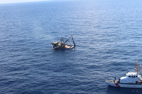 The U.S. Coast Guard rescued three people from a fishing vessel fire approximately 40 miles east of Port Isabel on Friday.