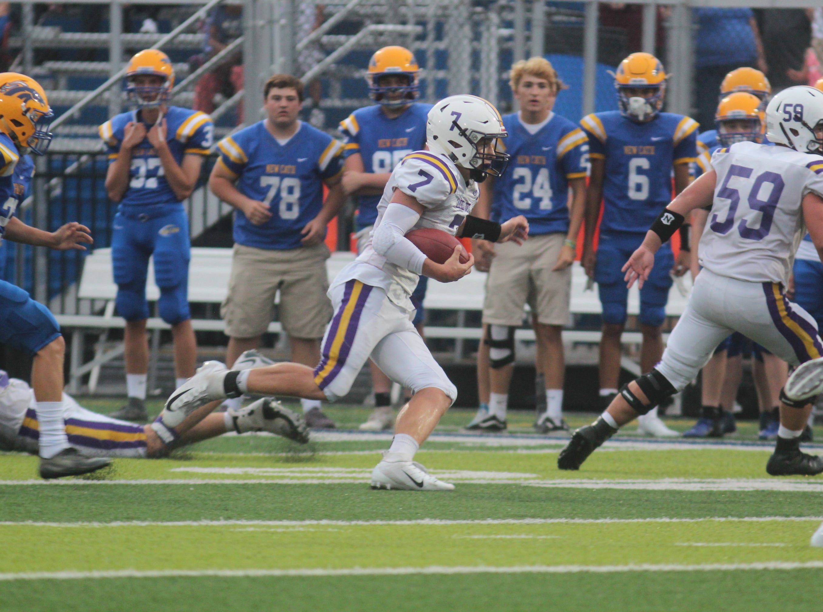 Campbell County senior Reid Jolly runs upfield for a big gain as Campbell County and Newport Central Catholic played a football game August 31, 2018 at Covington Catholic High School. Campbell County led 24-0 at halftime when the game was suspended due to lightning.