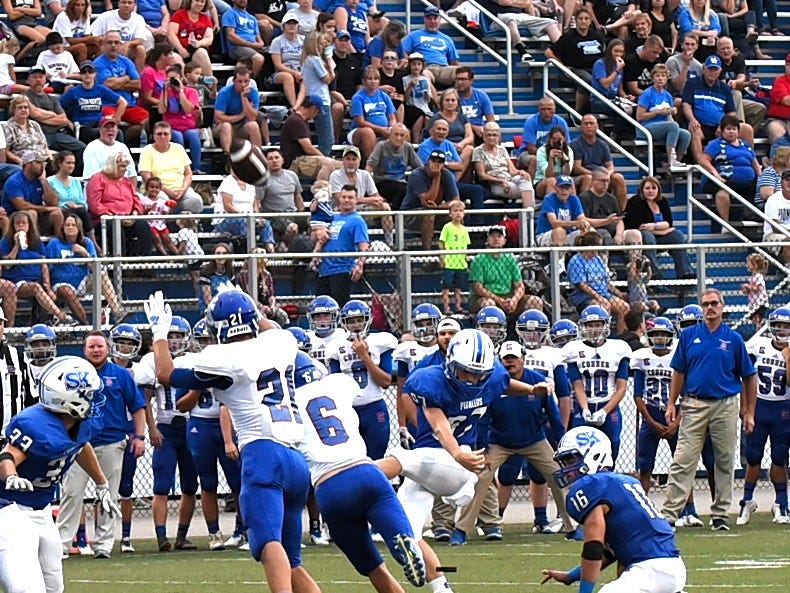 Simon Kenton's Christian Seger lifts a field goal for three points for the Pioneers, August 31, 2018.