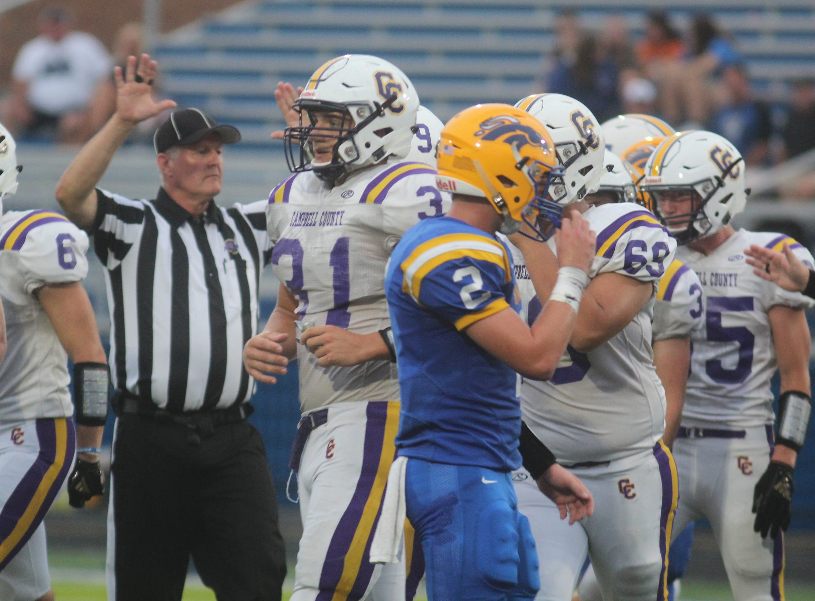 Campbell County senior Tanner Lawrence, 31, as Campbell County and Newport Central Catholic played a football game August 31, 2018 at Covington Catholic High School. Campbell County led 24-0 at halftime when the game was suspended due to lightning.