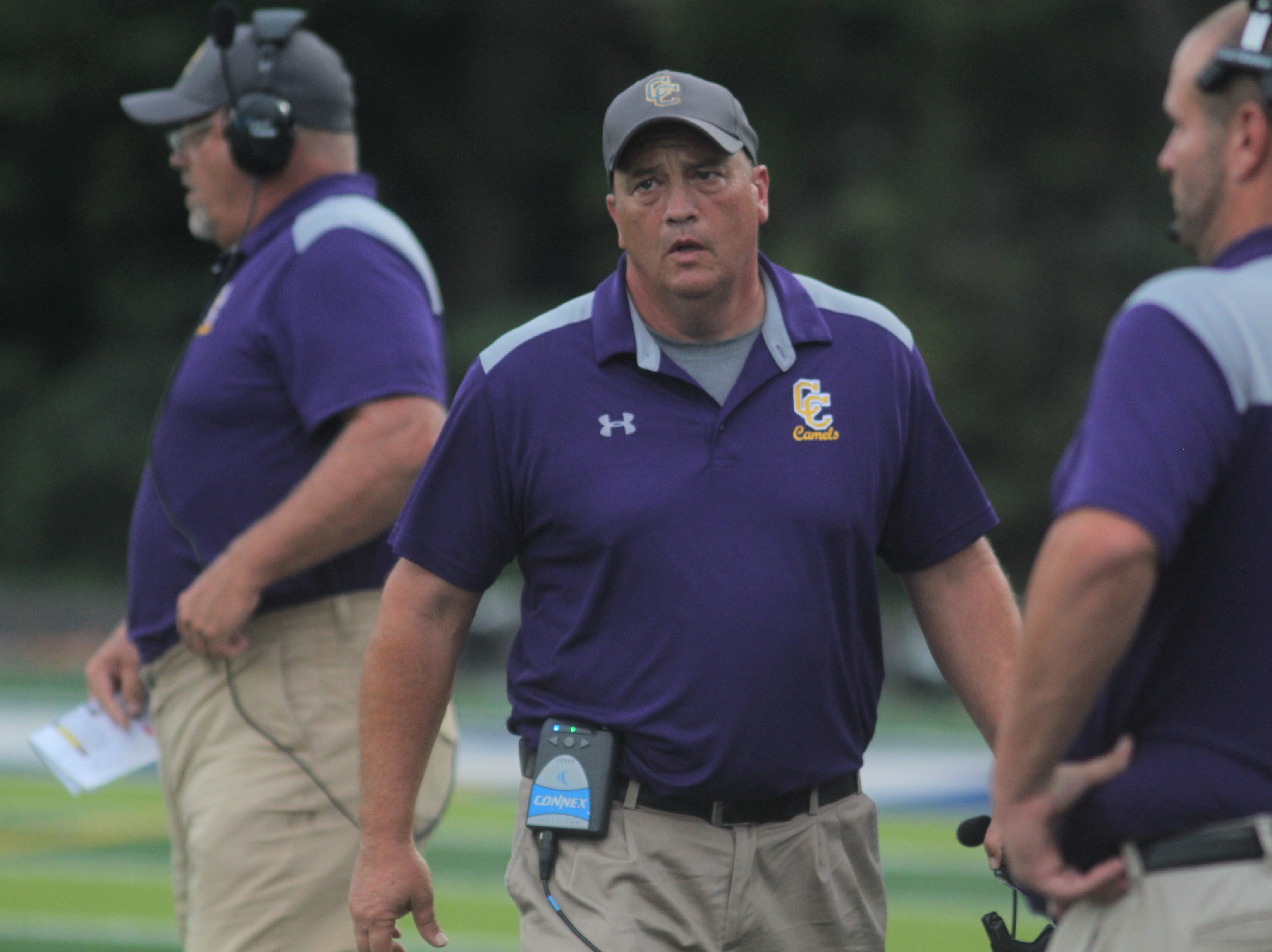 Campbell County head coach Mike Woolf as Campbell County and Newport Central Catholic played a football game August 31, 2018 at Covington Catholic High School. Campbell County led 24-0 at halftime when the game was suspended due to lightning.