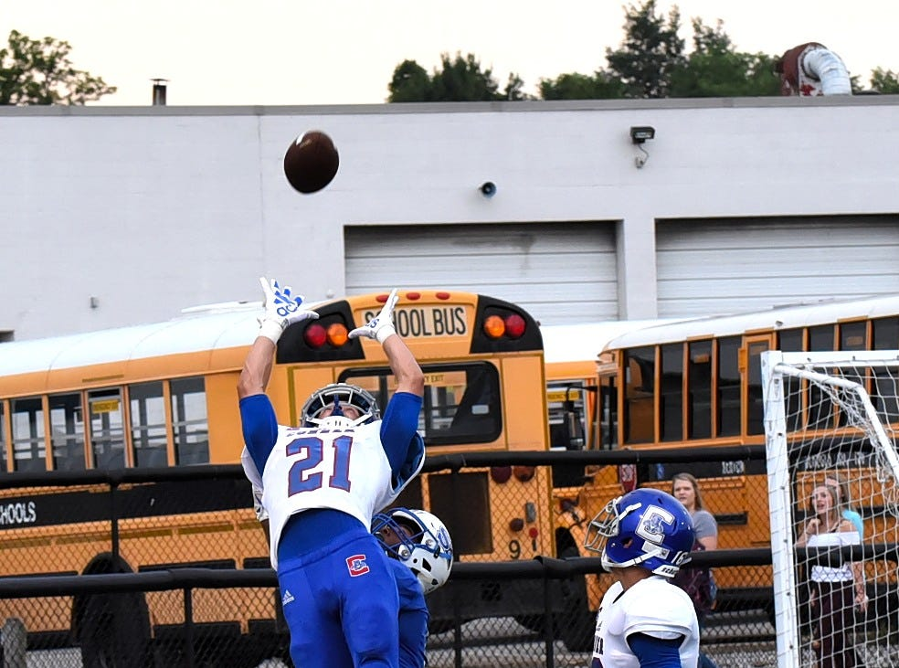 Tate Neiderman (21) of Conner breaks up a would be touchdown catch in the endzone for Simon Kenton, August 31, 2018