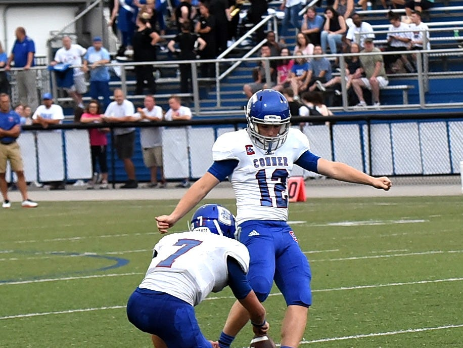 Conner kicker Teddy Schull sees his foot into a field goal attempt for the Cougars, August 31, 2018.