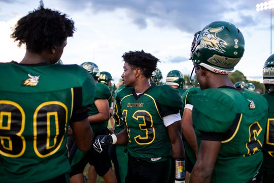 Northwest gathers before the game against West Creek at Northwest High School Friday, Aug. 31, 2018, in Clarksville, Tenn.
