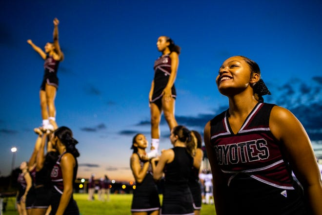 West Creek cheerleaders perform during the first half at Northwest High on Friday, Aug. 31, 2018, in a photo taken by new Leaf-Chronicle visual journalist Courtney Pedroza.