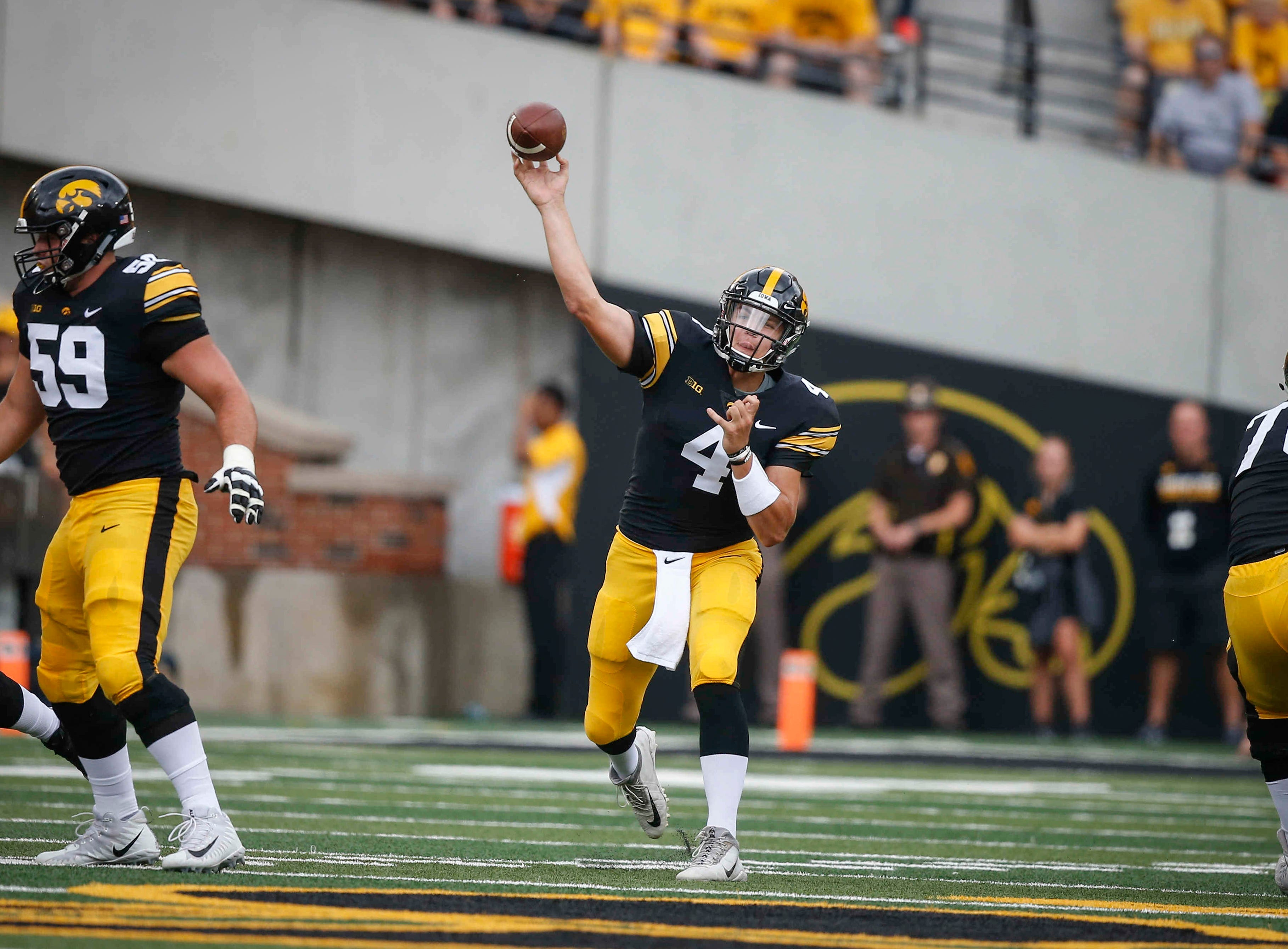 Iowa junior quarterback Nate Stanley fires a pass against Northern Illinois on Saturday, Sept. 1, 2018, at Kinnick Stadium in Iowa City.