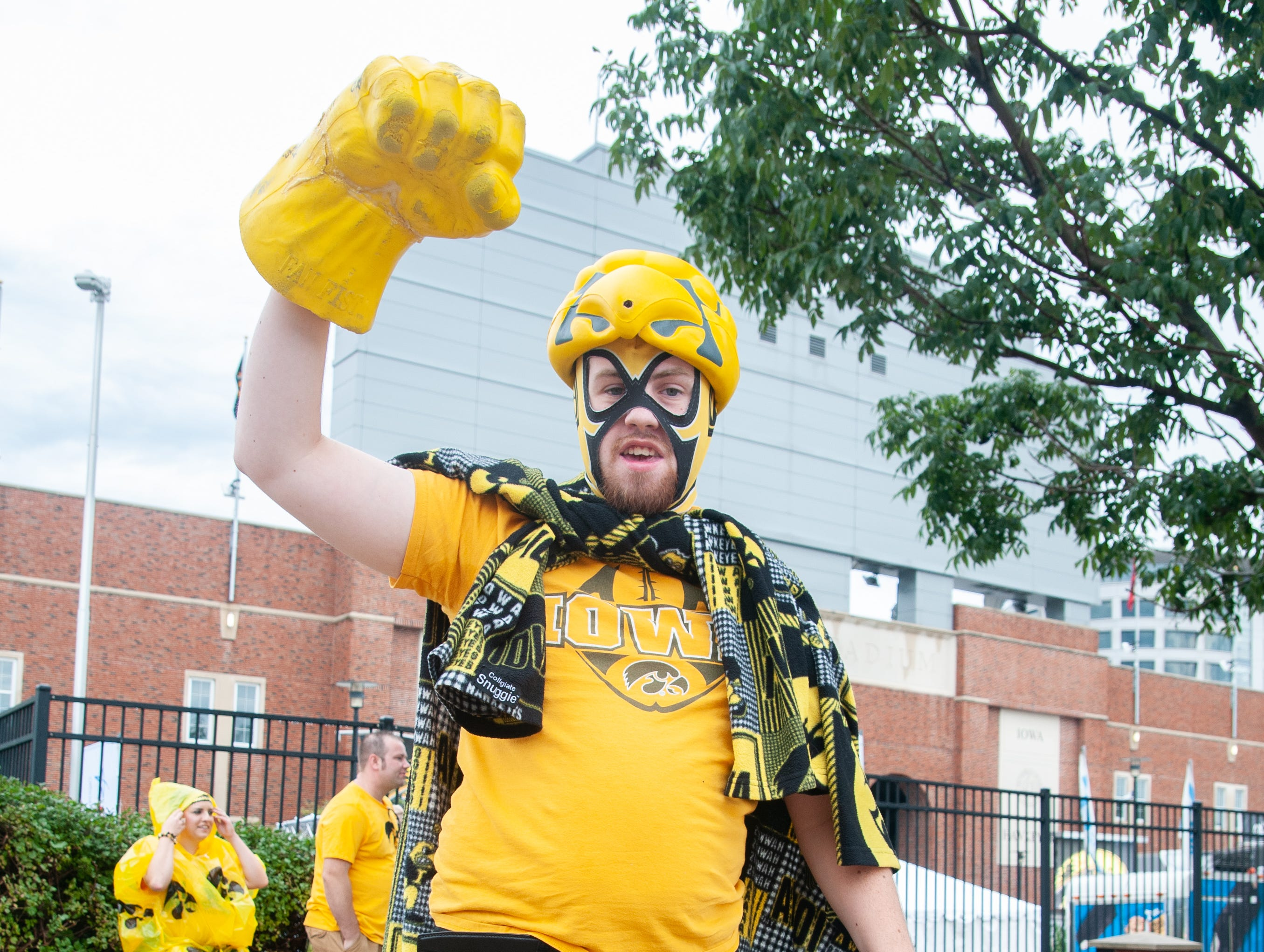 """Hawkeye Libre"" Owen Steinbrech, 22, of Solon, Saturday, Sept. 1, 2018, while tailgating before the Iowa game against Northern Illinois in Iowa City."