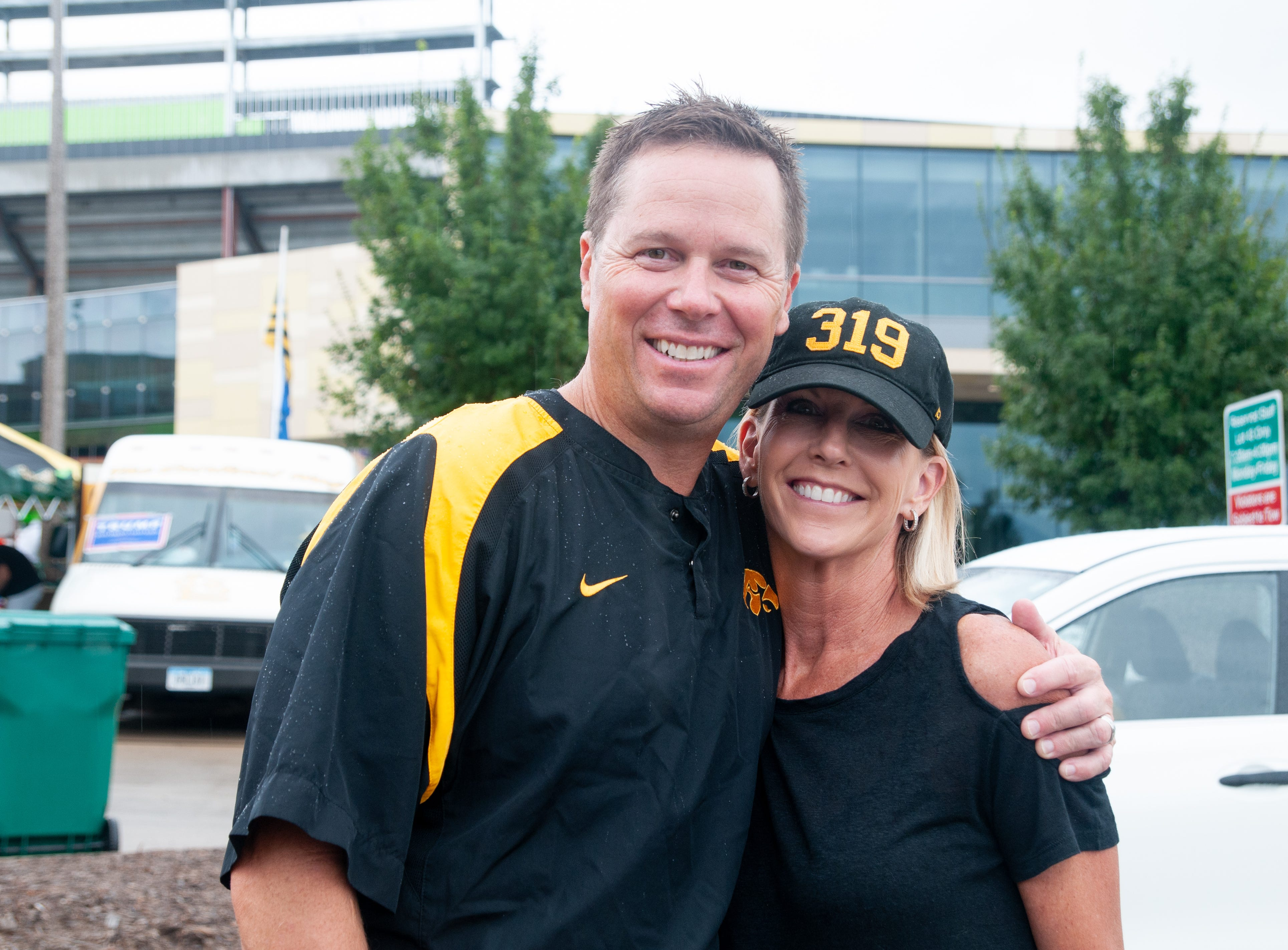 Matt, 49, (left), and Tracy Wiskus, 53, of Coralville, Saturday, Sept. 1, 2018, while tailgating before the Iowa game against Northern Illinois in Iowa City.