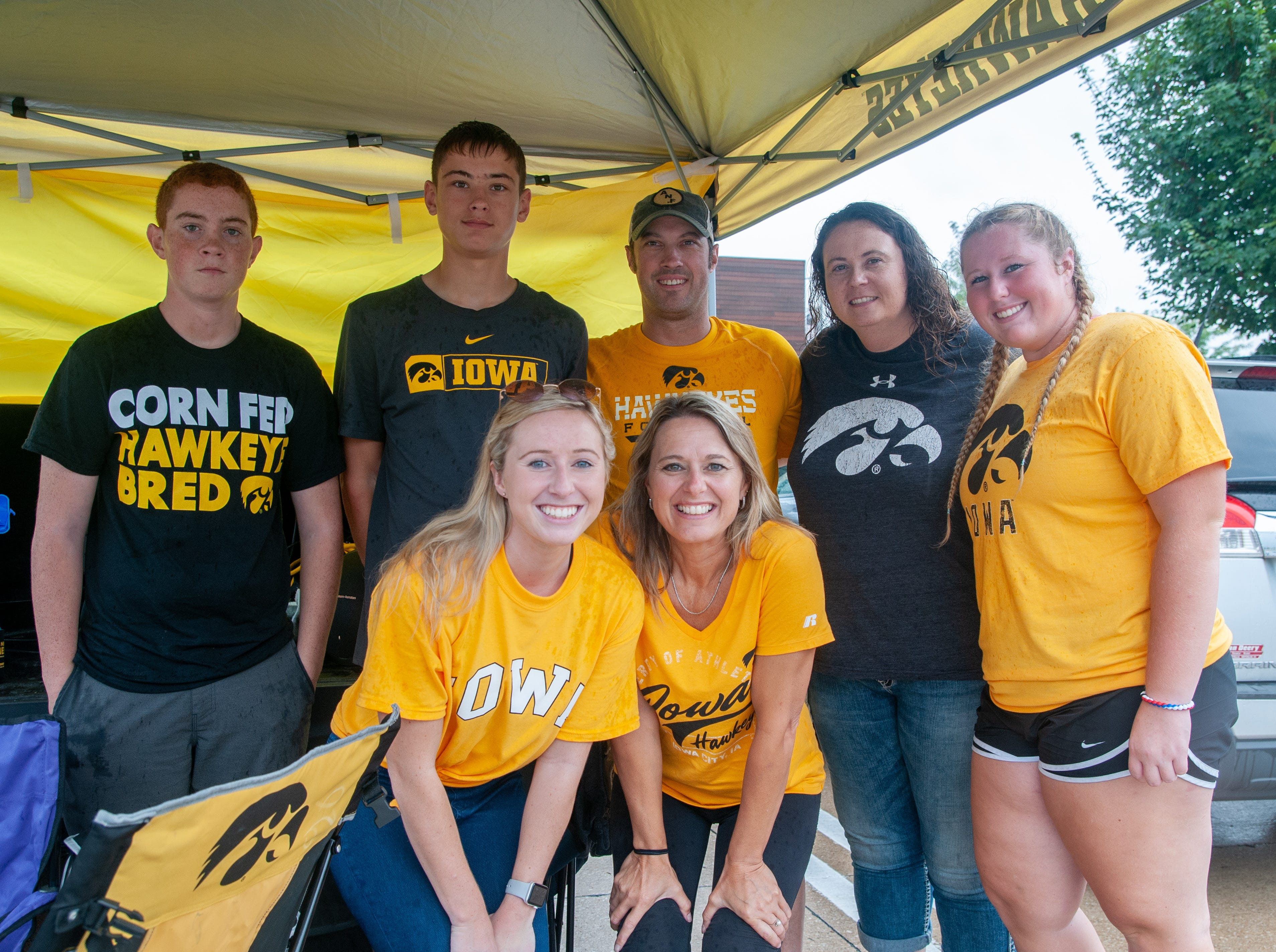The Sproul family, of Grundy Center and Waterloo, Saturday, Sept. 1, 2018, while tailgating before the Iowa game against Northern Illinois in Iowa City.