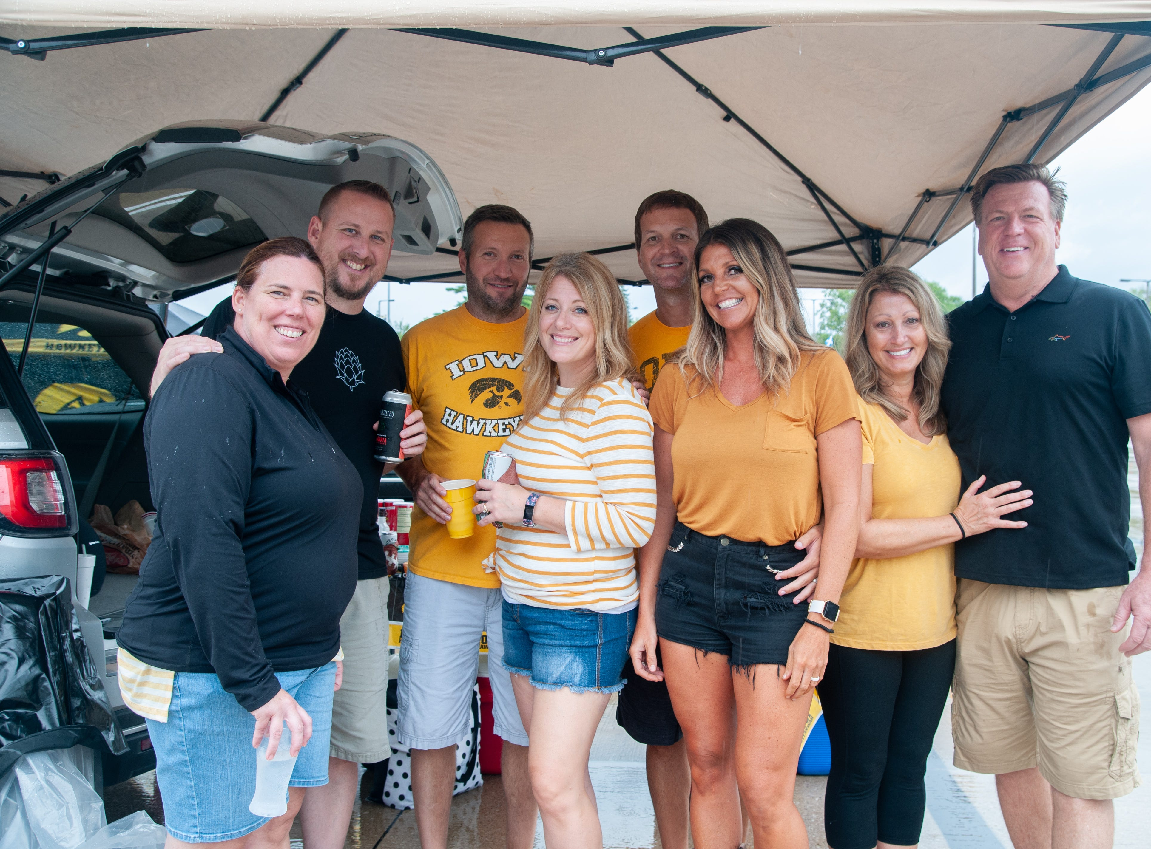 The Allen, Garner, Sampsell and Sullivan families, of St. Louis, Saturday, Sept. 1, 2018, while tailgating before the Iowa game against Northern Illinois in Iowa City.