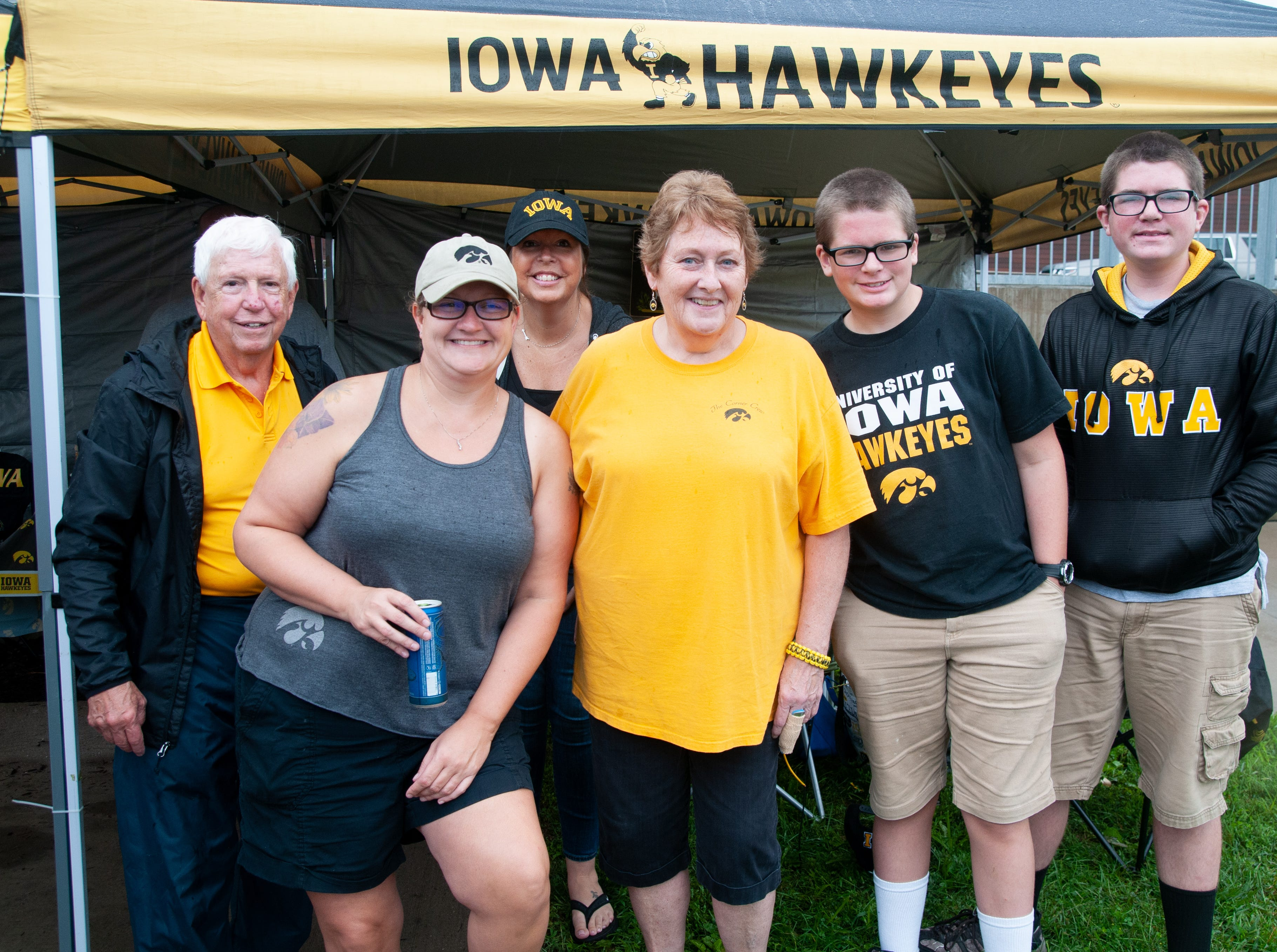 The Yeggy, Bower, Jenkins and Tenborg families, of Delano and Iowa City, Saturday, Sept. 1, 2018, while tailgating before the Iowa game against Northern Illinois in Iowa City.