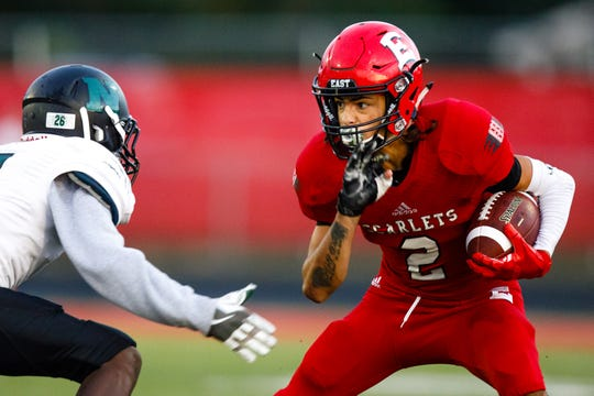 Stephon Field, part of Des Moines East's one-two receiving punch, caught two touchdowns in a Week One loss to Des Moines Lincoln. Field, a senior, helped the Scarlets bounce back with a 44-0 win over Des Moines North in Week Two.