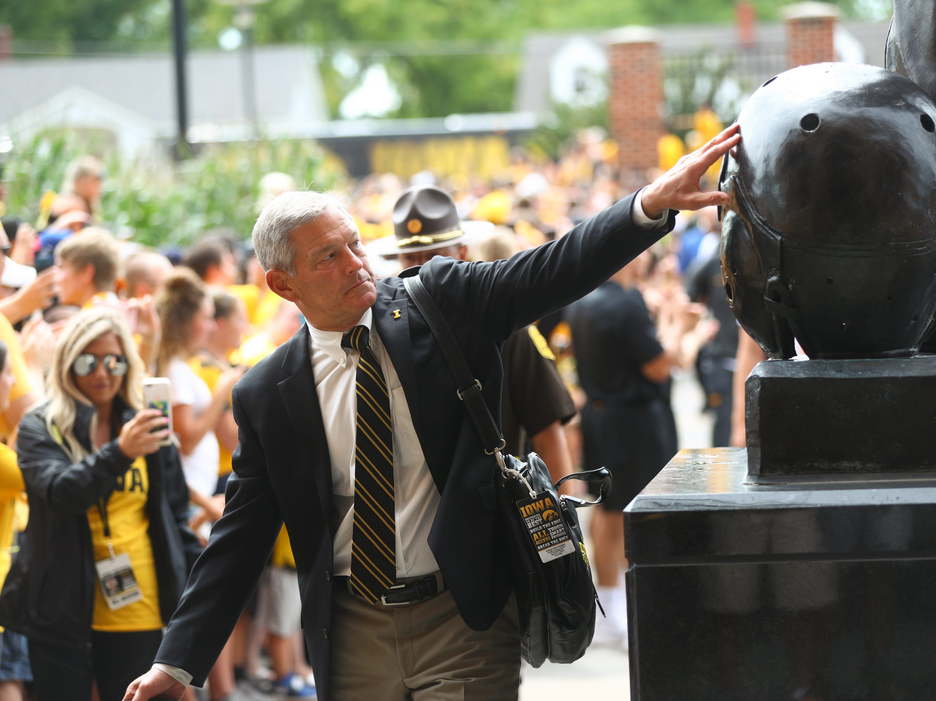 Iowa head coach Kirk Ferentz enters Kinnick Stadium before the Hawkeyes' game against Northern Illinois on Satuday, Sept. 1, 2018.