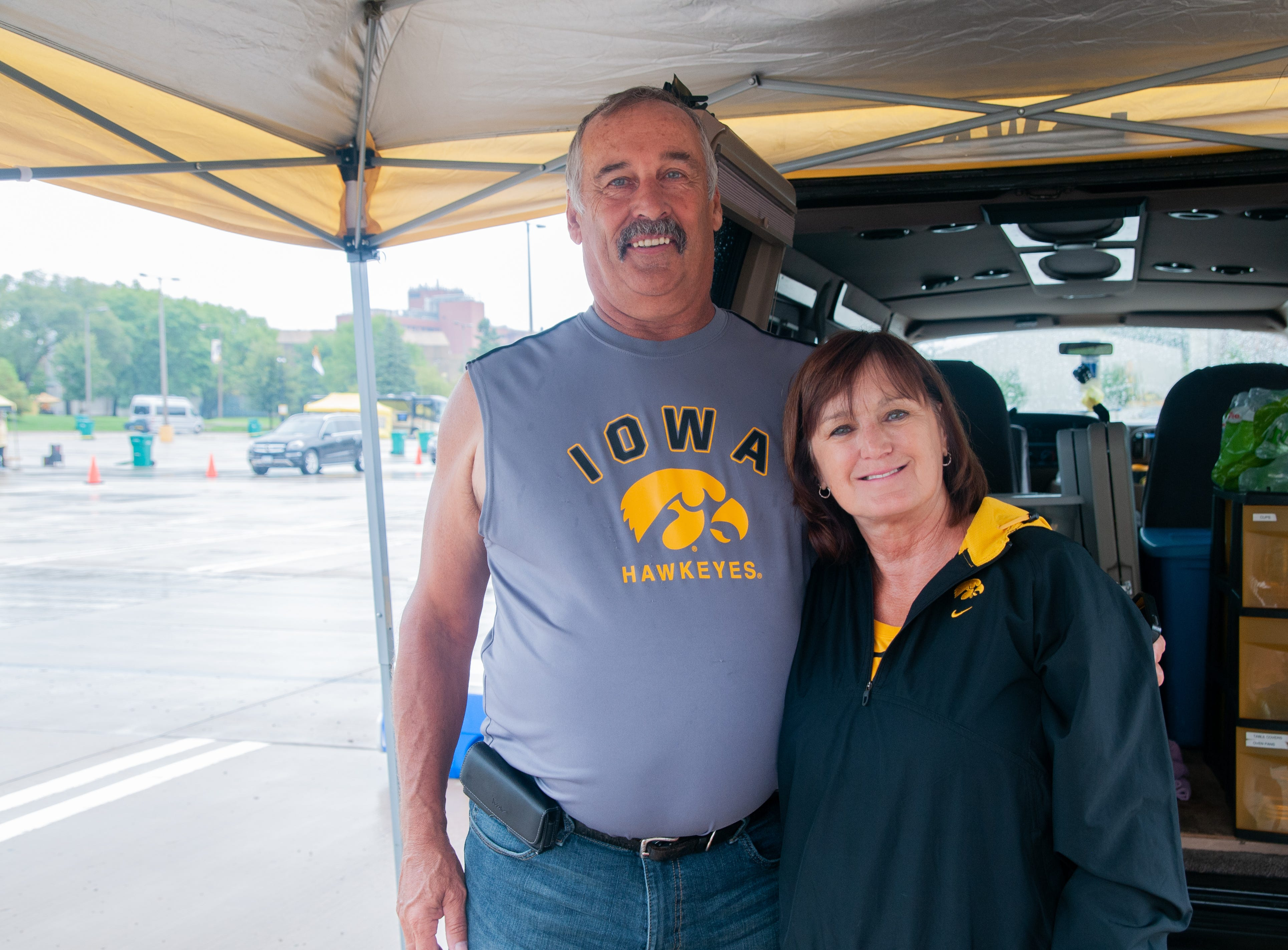 Jerry, 69, (left), and Lori Clasen, 62, of La Motte, Saturday, Sept. 1, 2018, while tailgating before the Iowa game against Northern Illinois in Iowa City.
