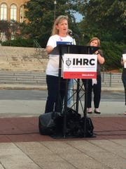 Lynda O'Hara speaks about her son Richard, who died of overdose. O'Hara was speaking at an event outside the capitol meant to honor victims of overdose on Friday, Aug. 31, 2018.