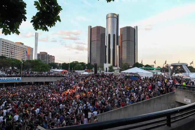 The Movement Festival at Hart Plaza in Detroit on Sunday, May 29, 2016. There were six stages of electronic music, a riverside bier garden, and dozens of food choices.
