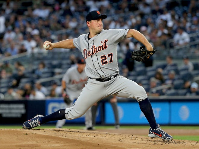 Detroit Tigers starting pitcher Jordan Zimmermann pitches against the New York Yankees during the first inning at Yankee Stadium on Aug. 31, 2018 in Bronx in N.Y.