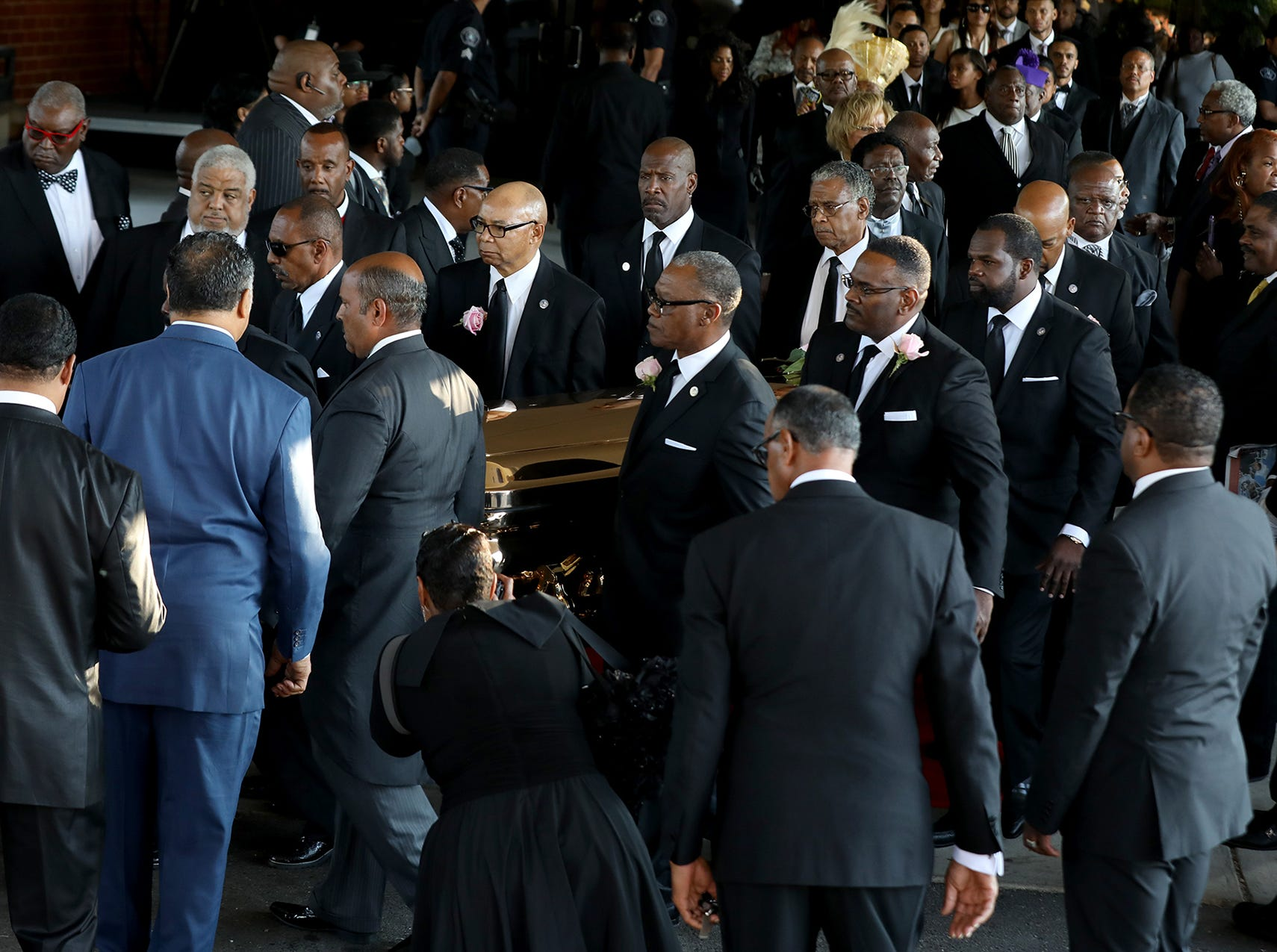 The casket of Aretha Franklin is moved out of the church at the end of her funeral at Greater Grace Temple in Detroit on Friday, August 31, 2018.