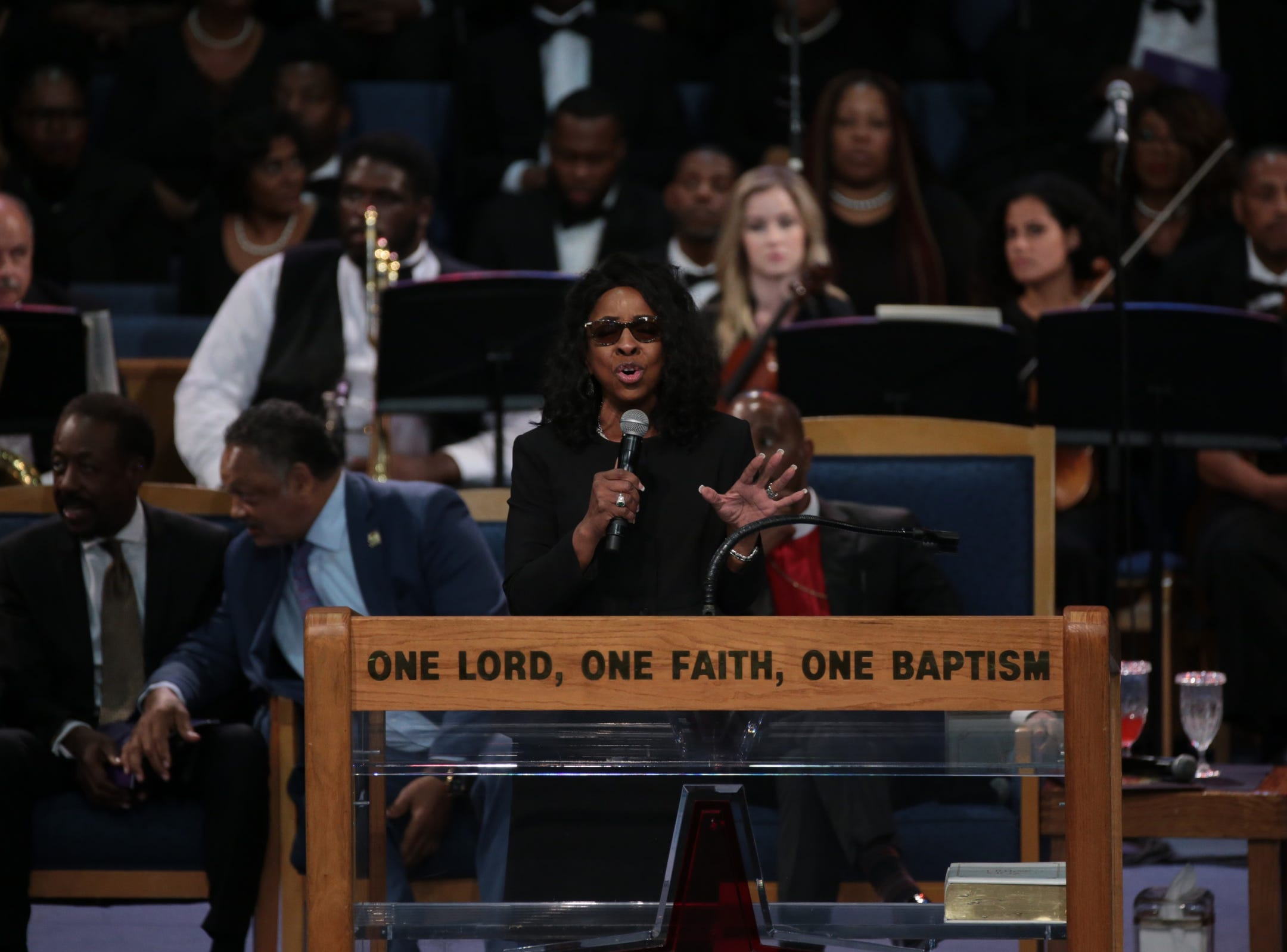 Gladys Knight performs at the end of the funeral for the late Aretha Franklin at Greater Grace Temple in Detroit on Friday, August 31, 2018.