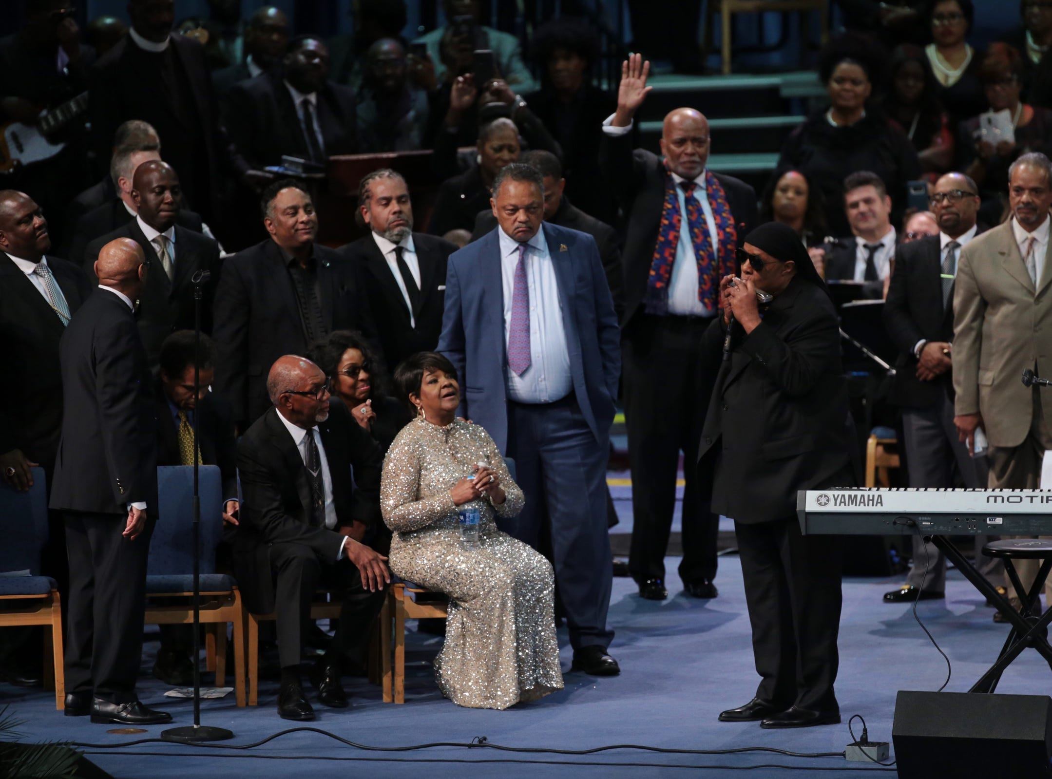 Stevie  Wonder  performs at the end of the funeral for the late Aretha Franklin at Greater Grace Temple in Detroit on Friday, August 31, 2018.