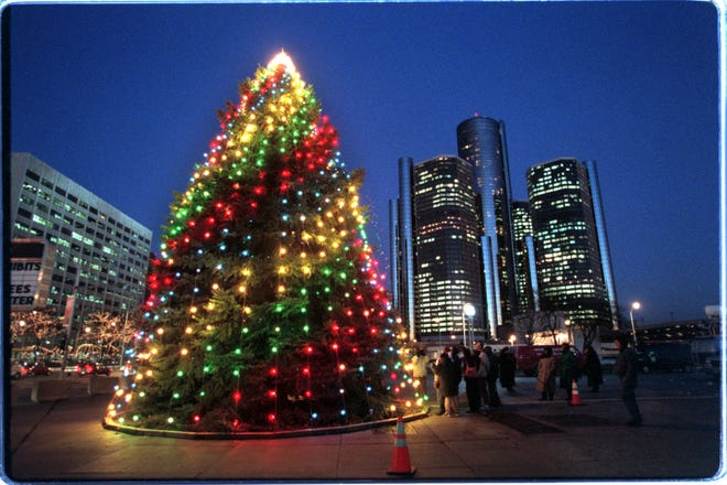 The Christmas tree lighting ceremony at Hart Plaza in downtown Detroit in November 1997 in Hart Plaza in Downtown Detroit.