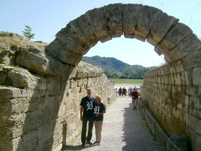 Kevin and Jackie Downey of West Bloomfield took the D to the entrance of the  Olympic stadium in Olympia, Greece, in April. The ancient Olympic Games were held every four years from 776 BC through AD 393.