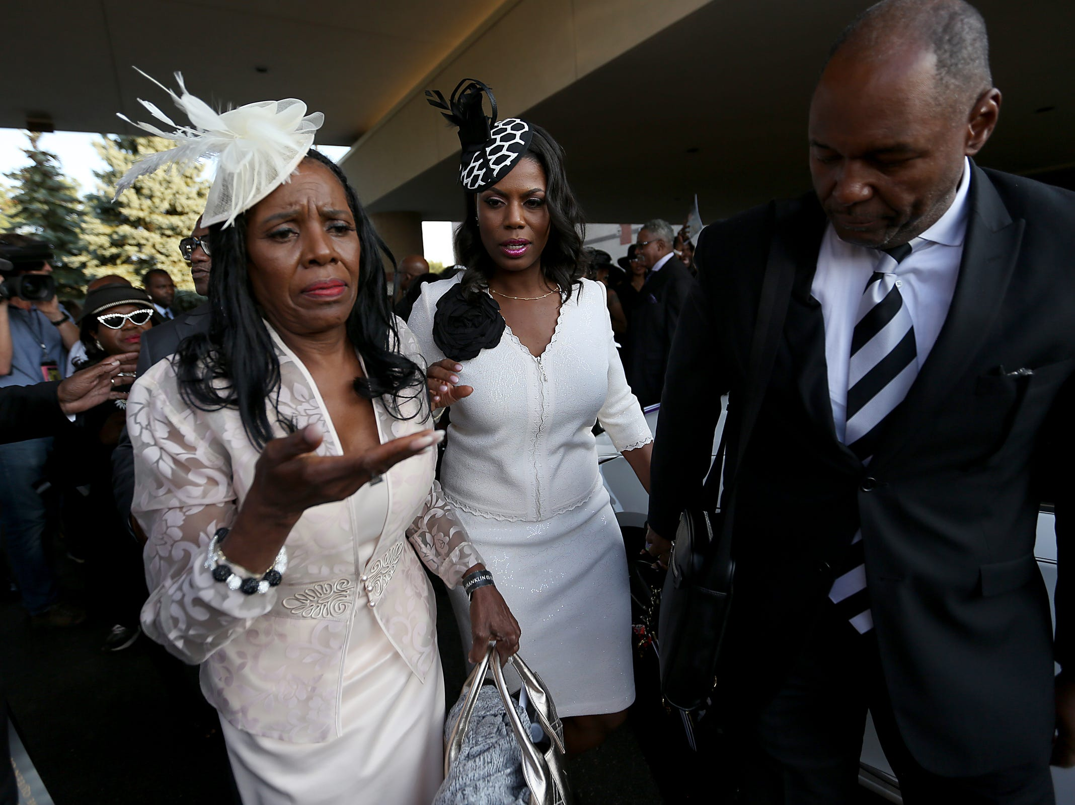 Omarosa Manigault and family attend the homecoming service for Aretha Franklin at Greater Grace Temple in Detroit, on Friday, Aug. 31, 2018.