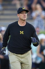 Michigan head coach Jim Harbaugh prior to the game against the Notre Dame at Notre Dame Stadium on Sept. 1, 2018 in South Bend, Ind.