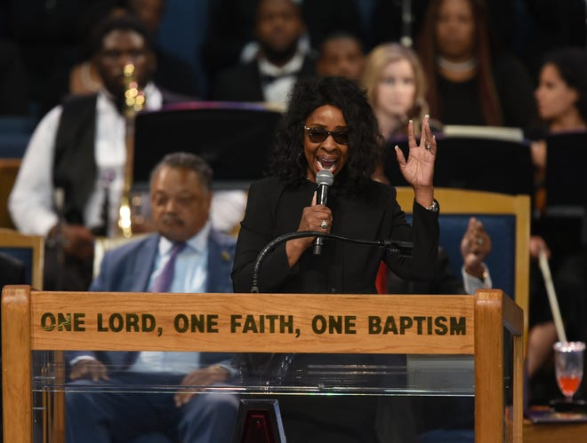 Gladys Knight performs during the funeral service for Aretha Franklin at Greater Grace Temple.