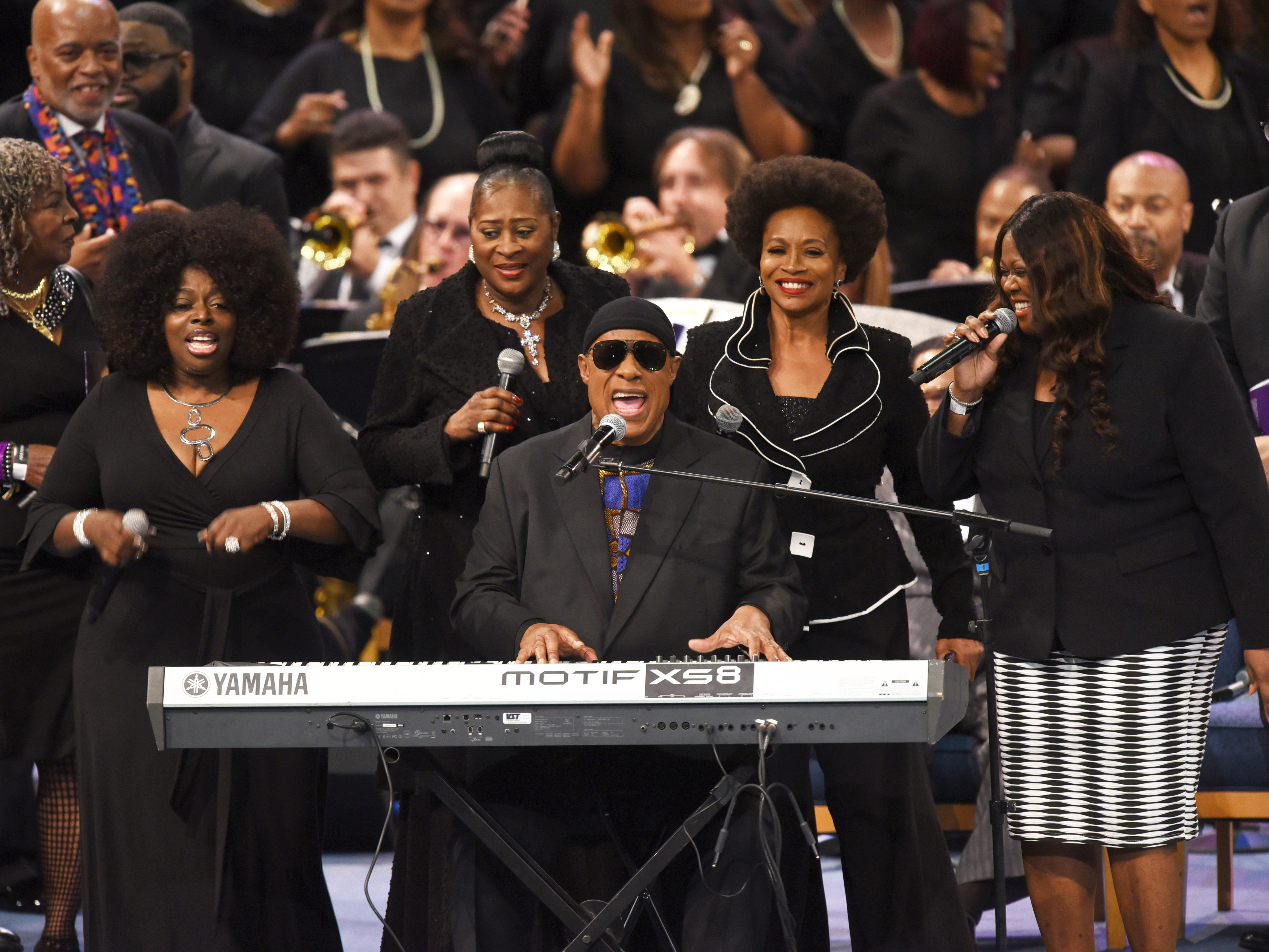 "Stevie Wonder sing ""As"" to close out the memorial service for Aretha Franklin at Greater Grace Temple on Friday, August 31, 2018."
