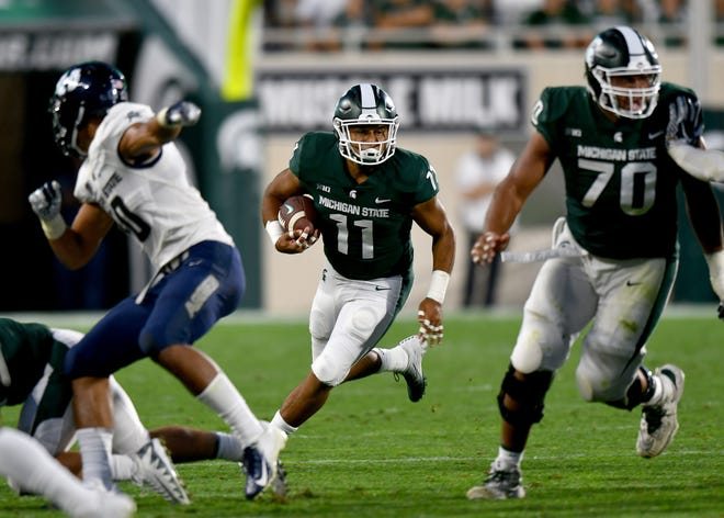 Michigan State's Connor Heyward moves the ball upfield in the second half.