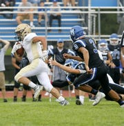 Matt Thrasher breaks free for a 41-yard touchdown run for Vestal in a 13-6 loss to Horseheads on Sept. 1, 2018.
