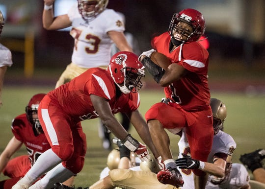 Harrison's Teddy Duneghy gained 110 yards on 21 carries, but received little help against Mater Dei at Romain Stadium.