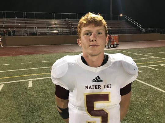 Austin Wulff caught a pair of touchdown passes in Mater Dei's victory over Harrison.
