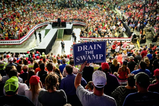 People pack the Ford Center to watch President Donald Trump speak during a Make America Great Again rally at the Ford Center in Evansville, Ind., Thursday, Aug. 30, 2018.