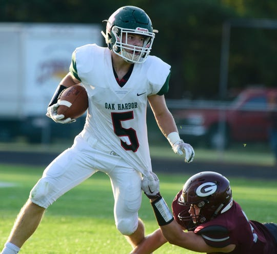 Oak Harbor's Clay Schulte rushed for a score, caught 10 passes and added 13 tackles last week.