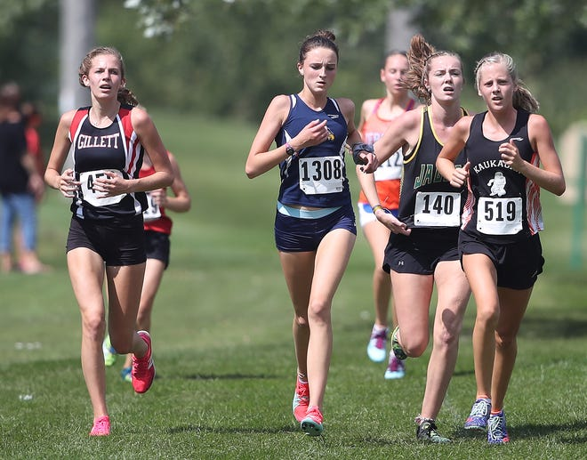 Gillett's Sylvia Hansen, left, and Kaukauna's Anna Fauske set the small and large school girls pace at the Freedom High School Cross Country Invite at Irish Waters Golf Course Friday, August 31, 2018 in Freedom, Wis.