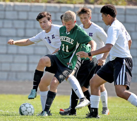 Preble's Nick Hummel is playing both soccer and football this fall.