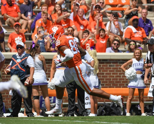 Clemson tight end Braden Galloway (88) scores against Furman during the 4th quarter Saturday, September 1, 2018 at Clemson's Memorial Stadium.