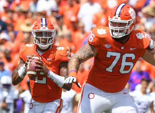 Clemson quarterback Kelly Bryant (2) looks to pass against Furman during the 1st quarter Saturday, September 1, 2018 at Clemson's Memorial Stadium.
