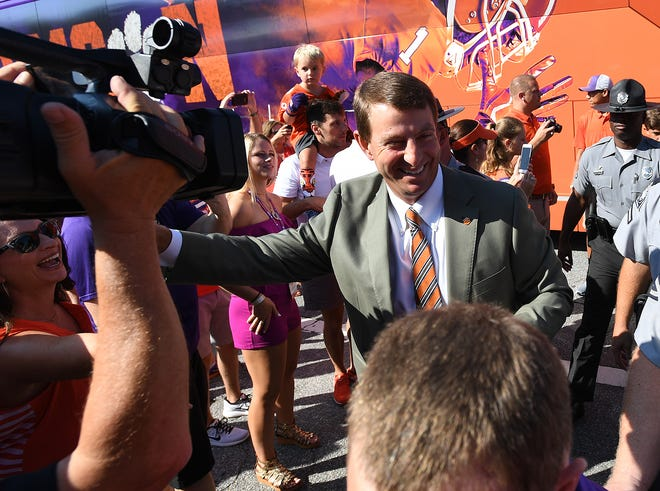 Clemson head coach Dabo Swinney during the team's Tiger Walk before their game against Furman Saturday, September 1, 2018 at Clemson's Memorial Stadium.