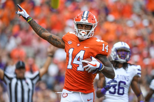 Clemson wide receiver Diondre Overton (14) catches a aTD against Furman during the 2nd quarter Saturday, September 1, 2018 at Clemson's Memorial Stadium.