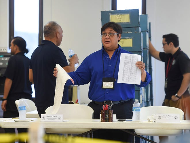 Guam Election Commission Chairwoman Alice M. Taijeron explains the recount process of the 2018 Primary Election ballots at the GCIC Building in Hagåtña on Sept. 1, 2018.