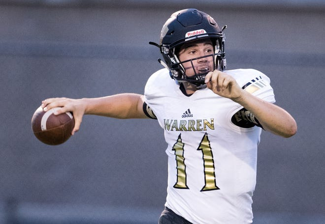 Jayden George, quarterback for Warren Central, during a 58-27 romp for Warren Central High School as they defeat North Central High School at home, Indianapolis, Friday, Aug. 31, 2018.